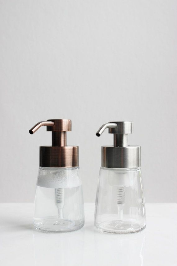 Small Glass Foaming Soap Dispenser With Copper Metal Pump Etsy Foam Soap Dispenser Soap Dispenser Foam Soap