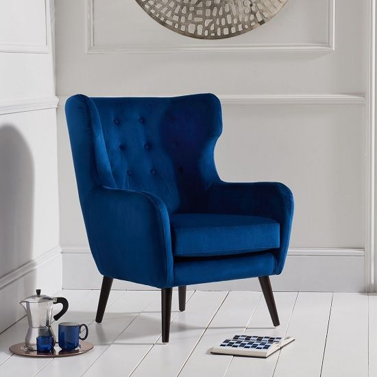 Best Burnet Modern Accent Chair In Blue Velvet With Dark Legs 400 x 300