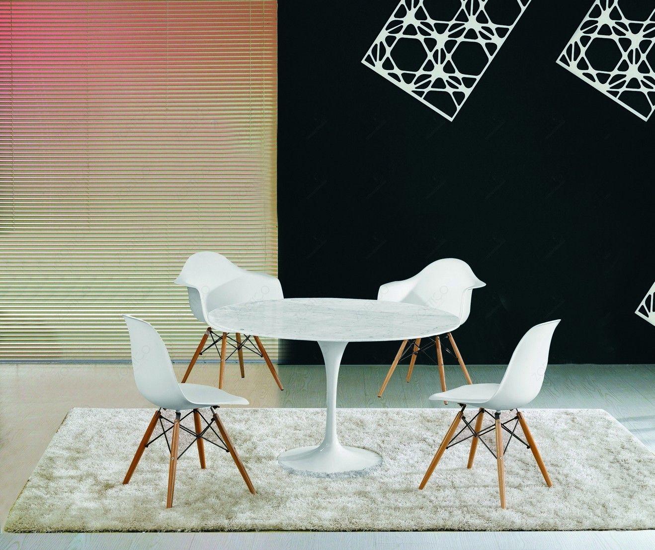 Furniture Fabulous Eero Saarinen Style 60 Round Marble Top Dining