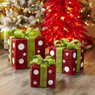 Gift Box Christmas Decorations Sisal Polkadot Gift Box Set  Christmas  Pinterest  Sisal Box