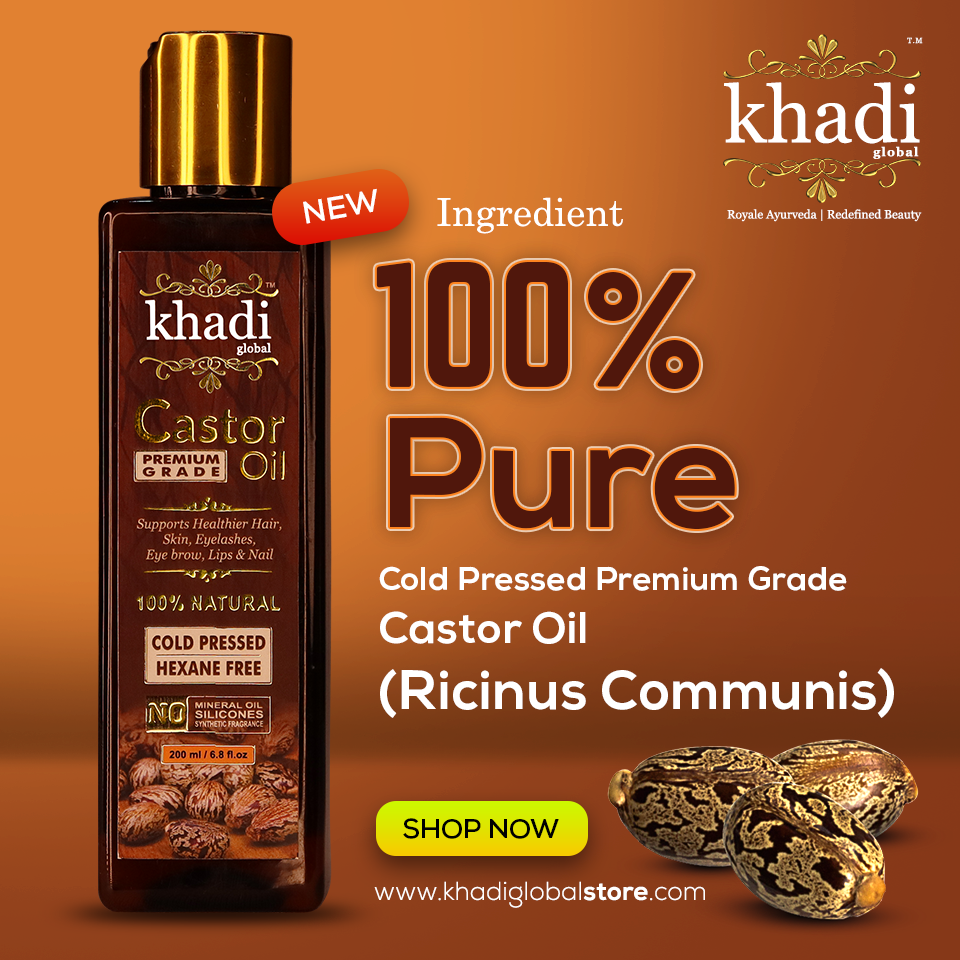 Khadi Global Premium Grade 100 Pure Castor Oil Cold Pressed Supports Stronger Hair Skin Eyelashes Eyebrows Lips And Nails Contain No Mineral Oil No S In 2020 Pure
