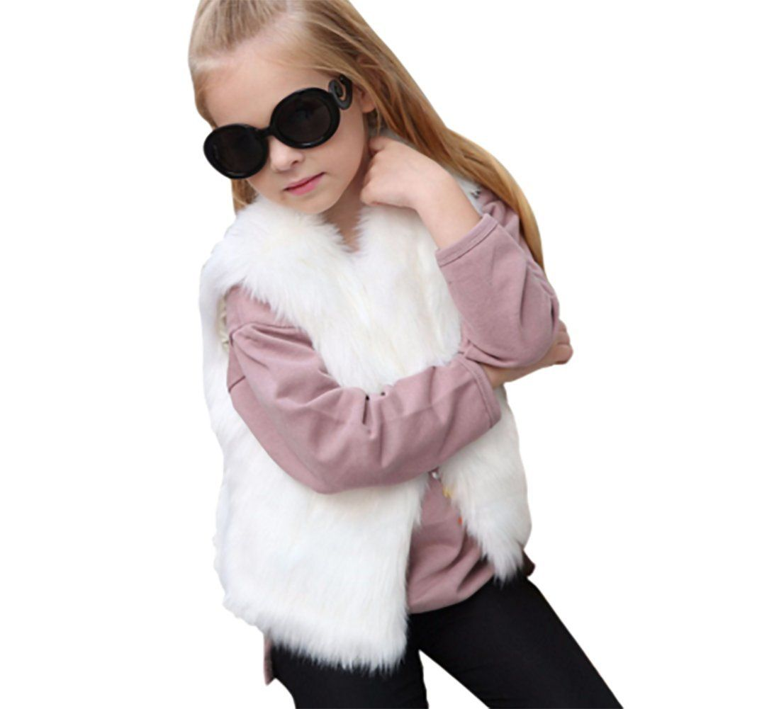 Corala Toddler Little Kids Girls Winter Warm Fluffy Synthesis Fur Sleeveless Vest Waistcoat Jacket Coat