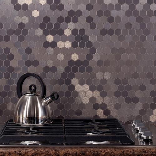 Awesome Backsplash Tiles In A Stainless Steel Color Great For The Kitchen Http Www Menards Com M Metallic Backsplash Metal Tile Decorative Tile Backsplash