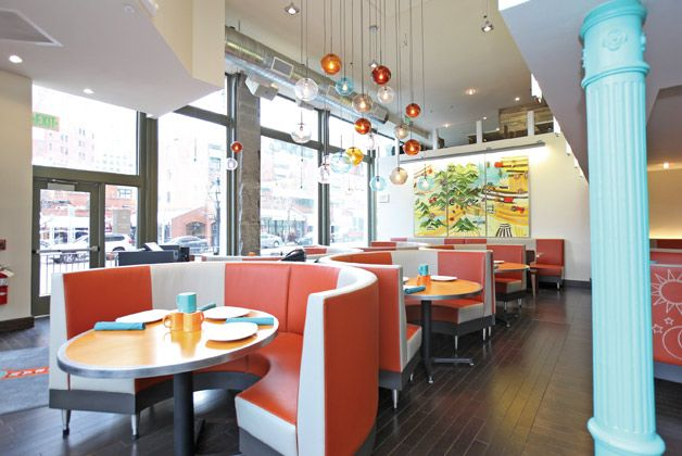 Toms Urban 24 In Denver Interior Design Hanging Globe Lights Modern Diner