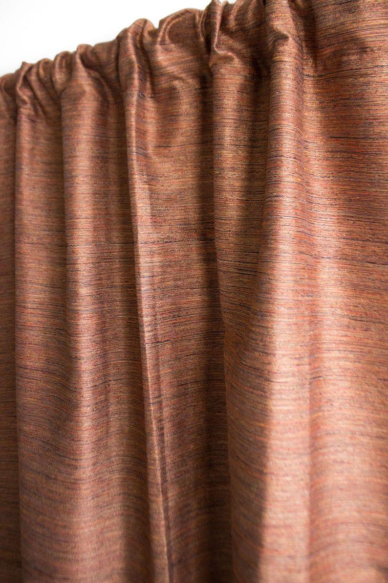 Orange Raw Silk Curtains Blackout Curtains Boho Curtains
