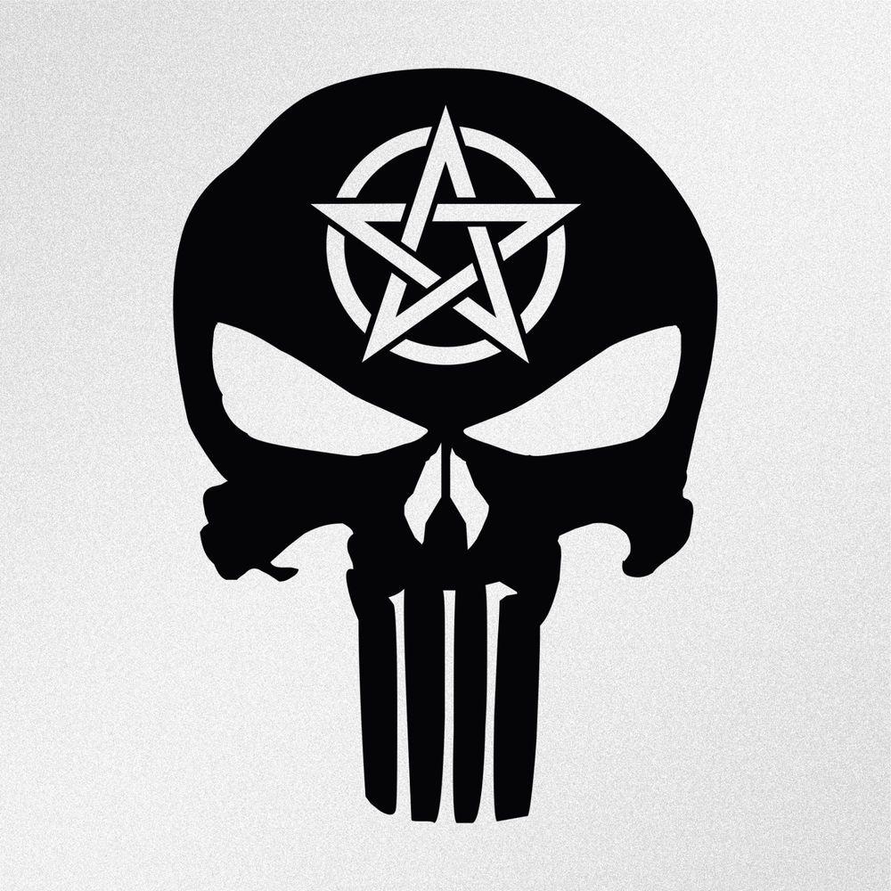 Car decals tribal graphic design zion series - Details About Punisher Skull Pentagram Symbol Car Body Window Bumper Vinyl Decal Sticker