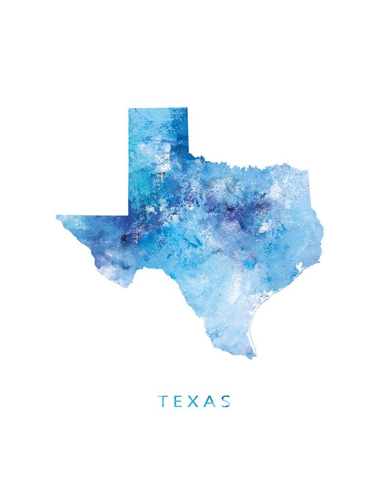 Texas Map Print Texas Map Art Austin Print Dallas State Poster Travel Watercolor Usa Map Gift Home Office Decor Digital Download Texas Map Art Map Art Texas Poster