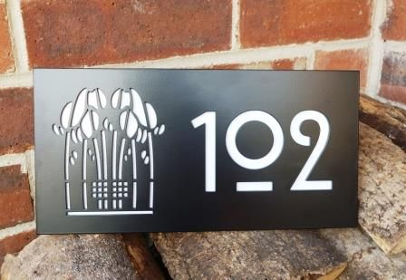 Mackintosh Rose Motif House Number Plaque