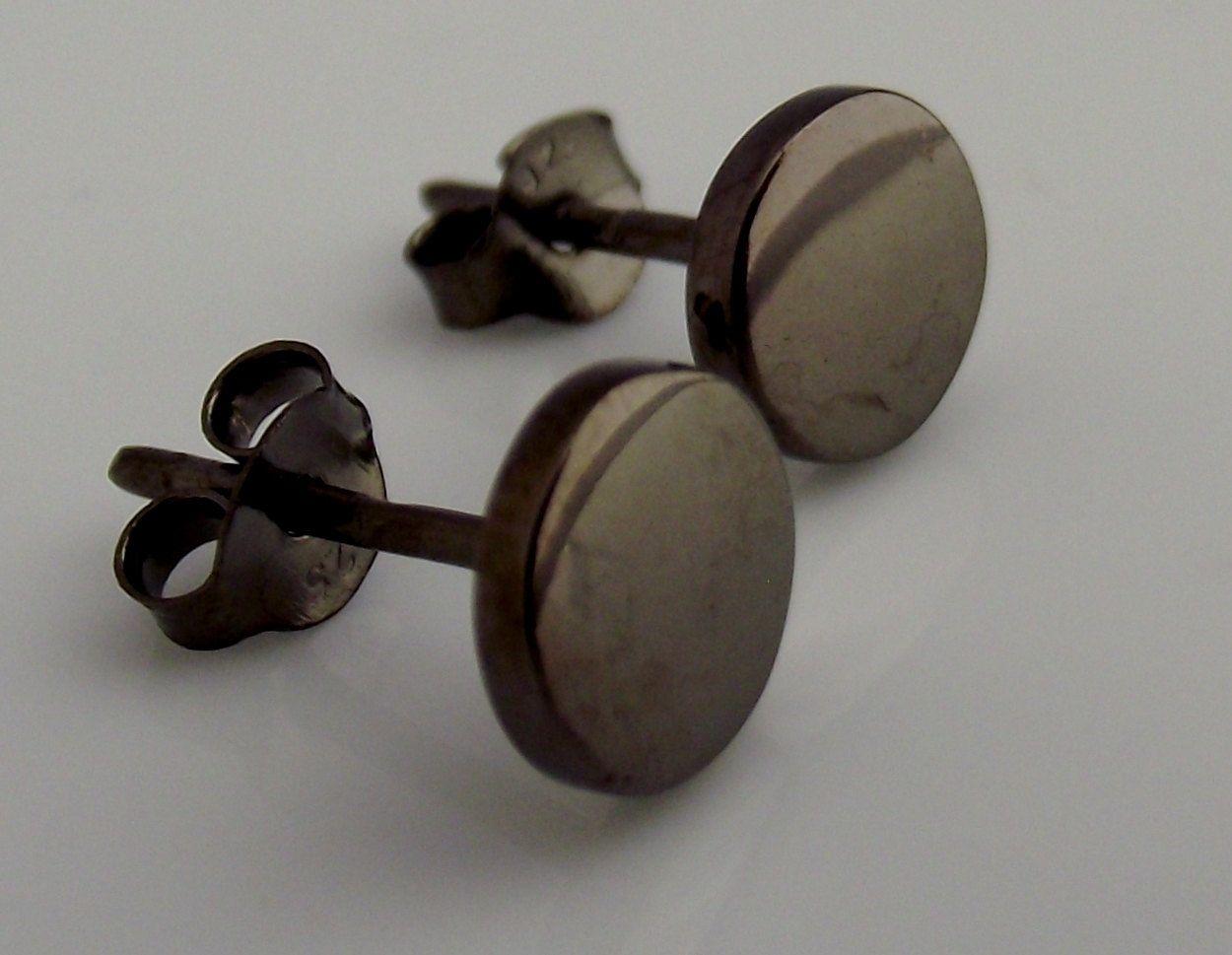 Mens Earrings Black Stud Earrings For Men Nail