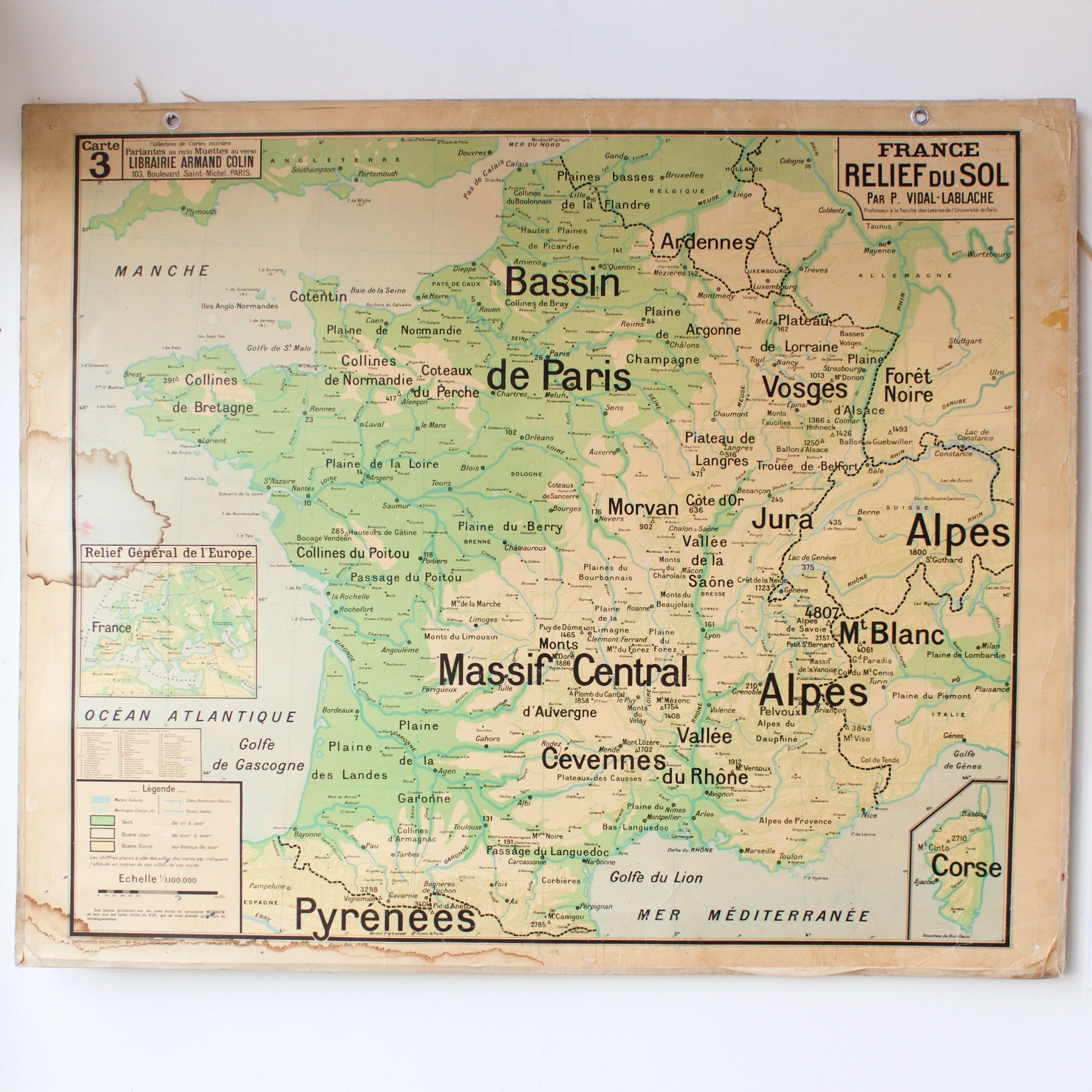 Carte scolaire ancienne N3 France relief / French vintage school map 145 | Vintage school map ...