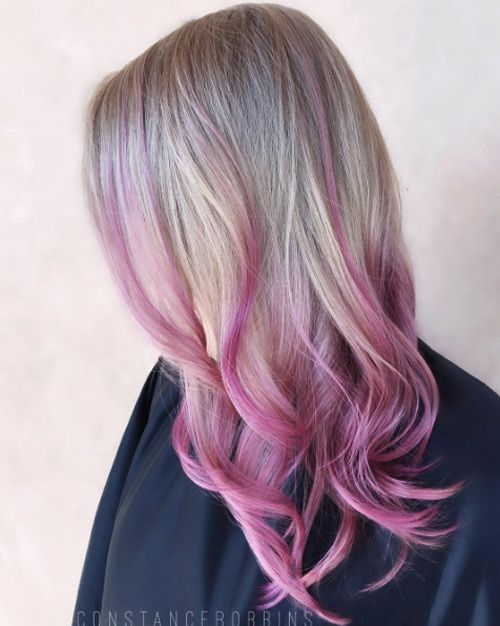 Hot Pink Balayage By Constance Robbins Hot Pink Hair Pink Hair Highlights Hair Highlights