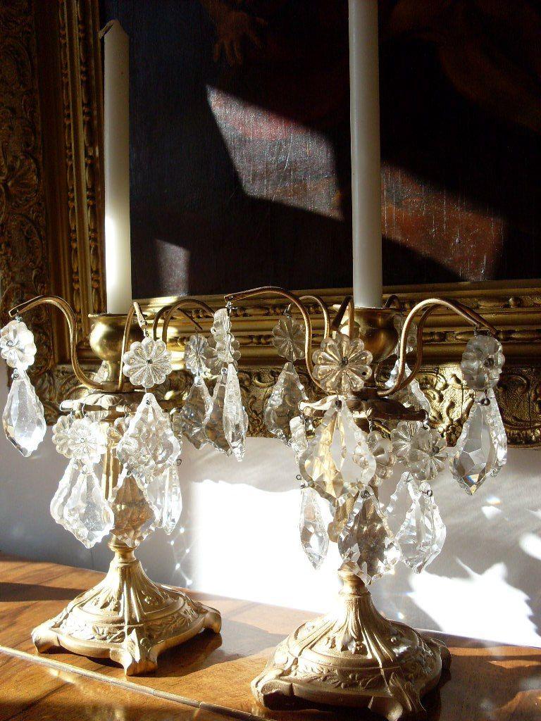 Candelabros antiguos con caireles ara as l mparas y pantallas pinterest candelabros - Candelabros modernos ...