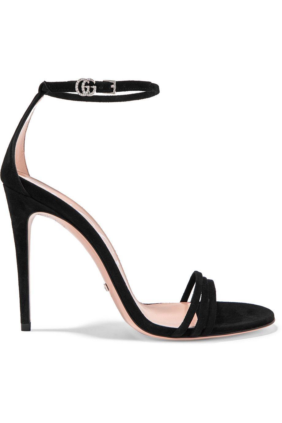 Black Crystal-embellished suede sandals