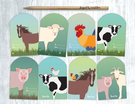 Farm Girl Gift Tags Farm Animal Tags Farm Party, Rooster Gift Tags Rooster Happy Birthday GIft Tags Thank you Tags Birthday Tags