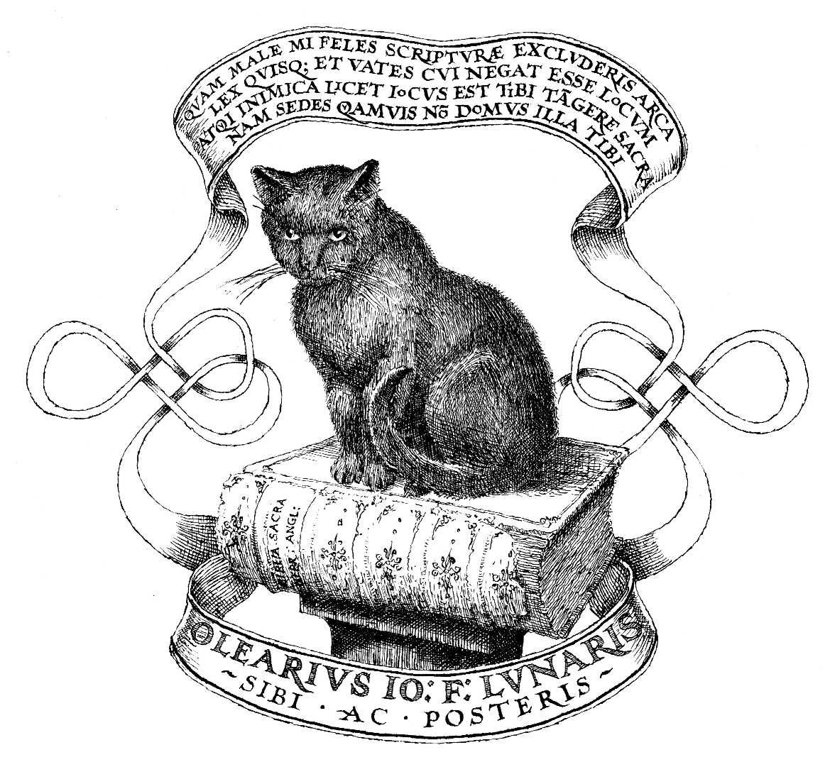Design for a personal bookplate. The cat is sitting on a