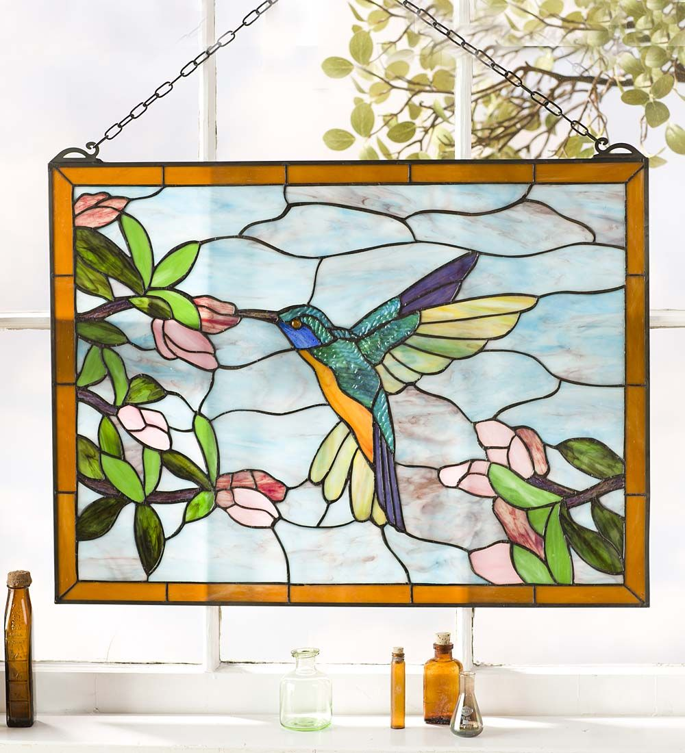 Hummingbird Stained Gl Hanging Panel Wind Weather