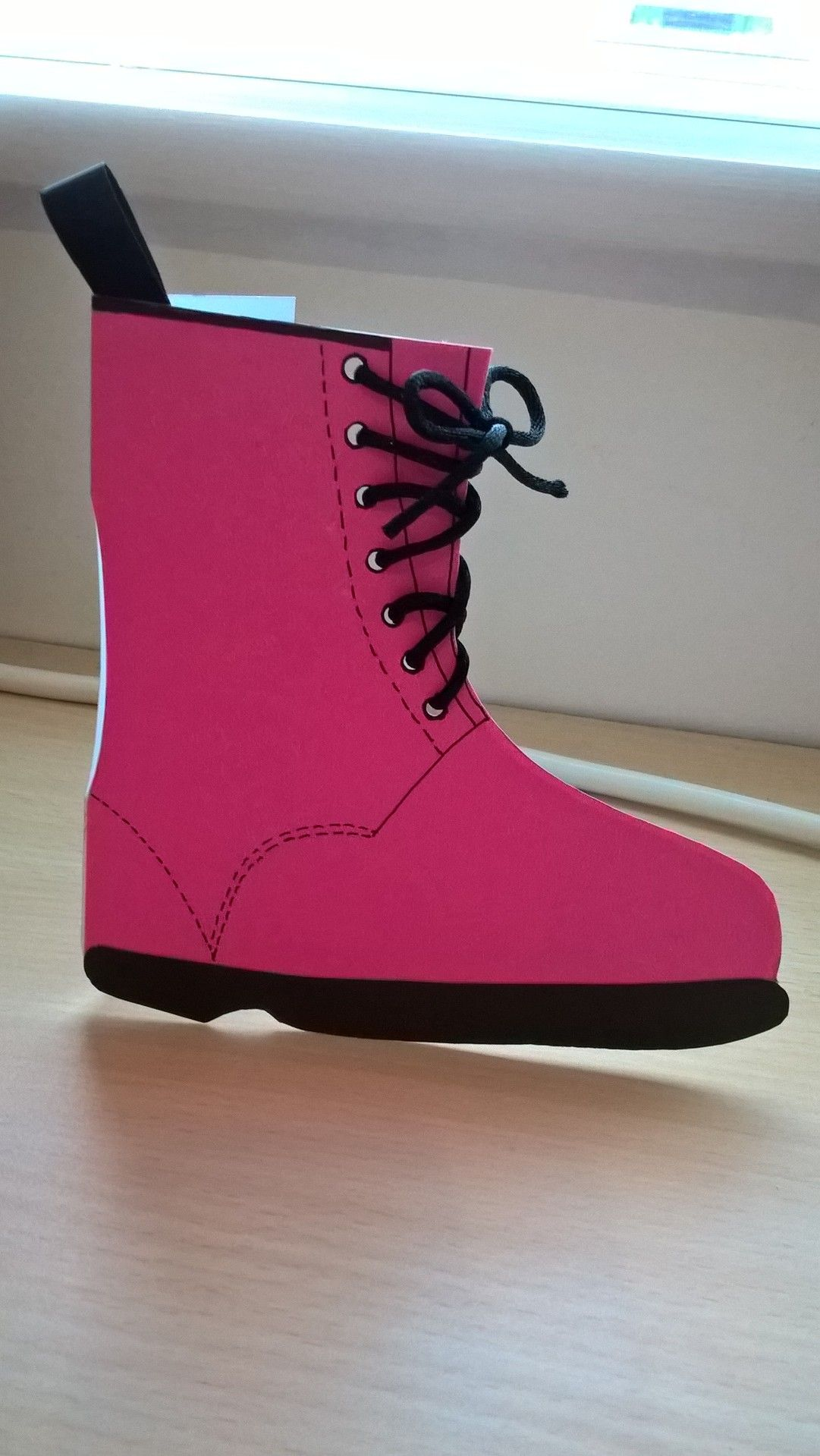 Neon pink DM boot card for mate who wears same!