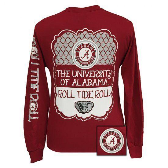 Alabama Crimson Tide Preppy Frame Logo Long Sleeve T Shirt | Alabama ...