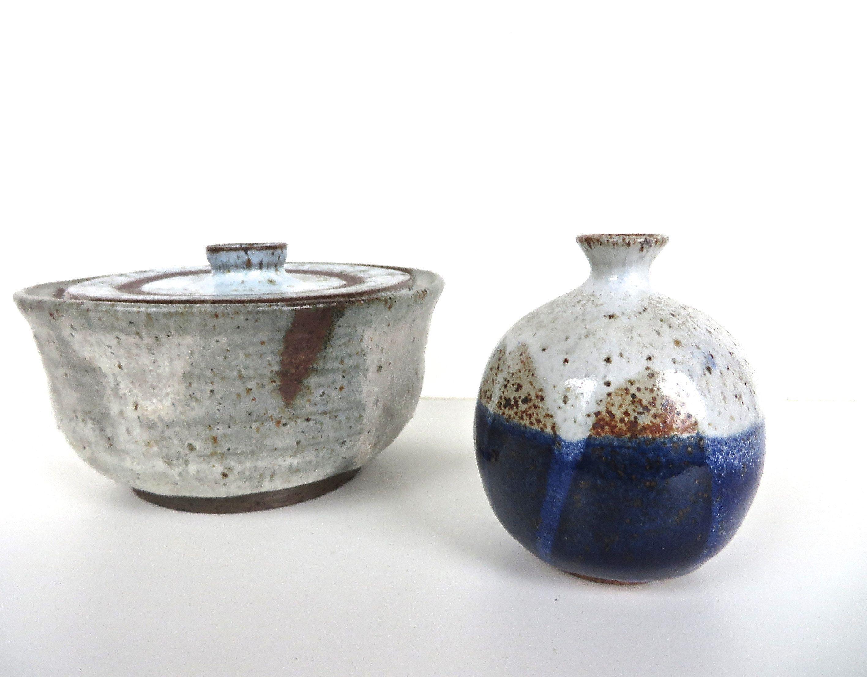 Small Studio Pottery Vase, Mid Century Modern Pottery Weed Pot,