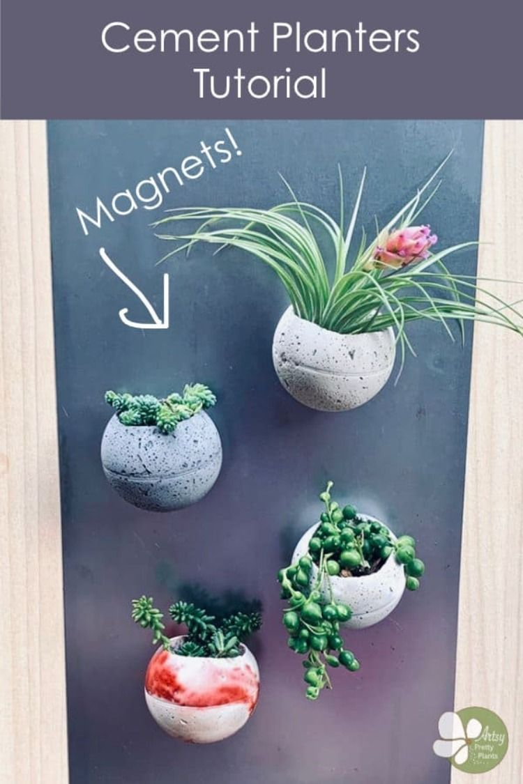 Round DIY magnetic cement planters made from a plastic ball, with an actual making time of only 15 minutes. In less than 2 hours, when the cement has cured, you'll have the perfect mini cement succulent planter. DIY + ImageS: ArtsyPrettyPlants  #diyhomedecor #homedecorprojects #gardendesign #gardenart #diygardendesign