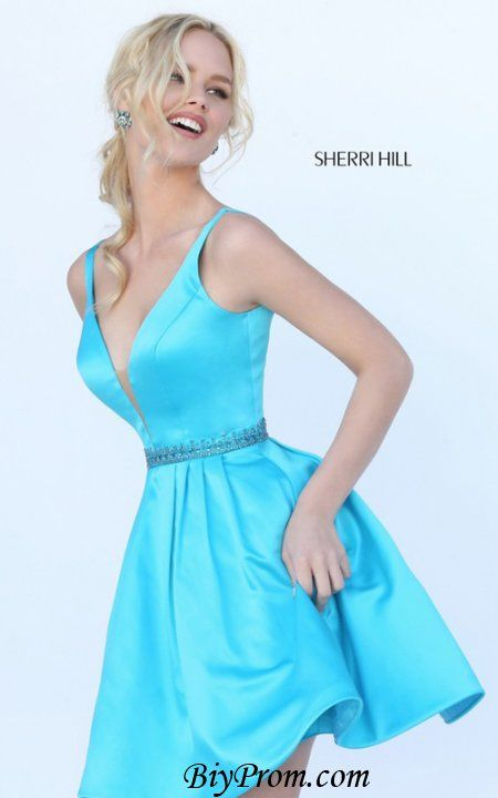 Blue Sherri Hill 50495 Short Satin Homecoming Dress | FORMAL | Pinterest |  Homecoming dresses, Homecoming and Satin