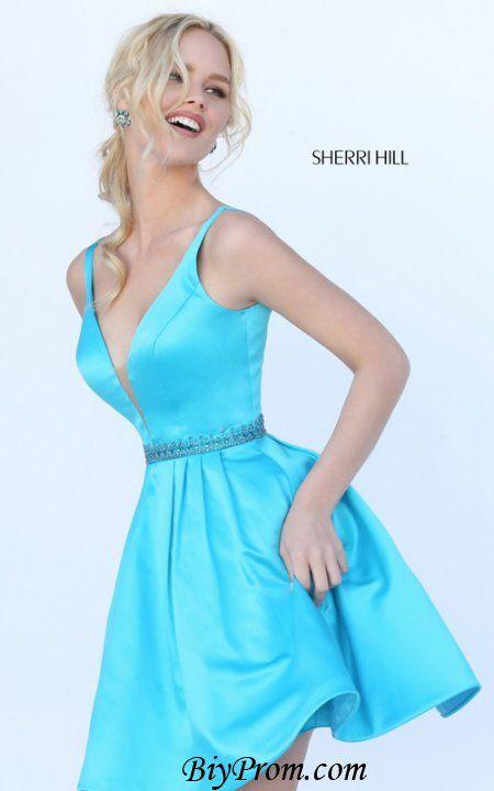 Turquoise Sherri Hill 50495 Plunging Beaded V-back Homecoming Dress 2016