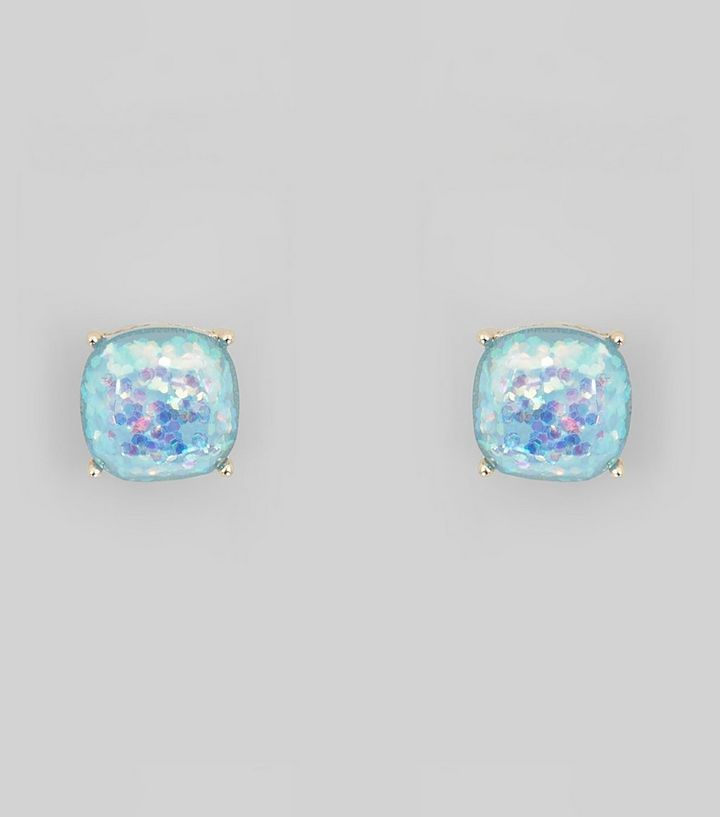 Glitz Glam Blue Diamontrigue Jewelry: Blue Glitter Stone Stud Earrings