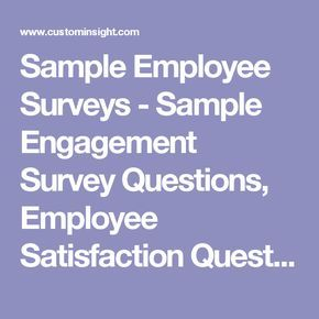 Sample Employee Surveys  Sample Engagement Survey Questions