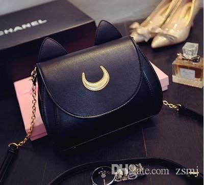 2016 Real Leather Cat Pattern Designer Metal Chain Shoulder Messenger Handbag
