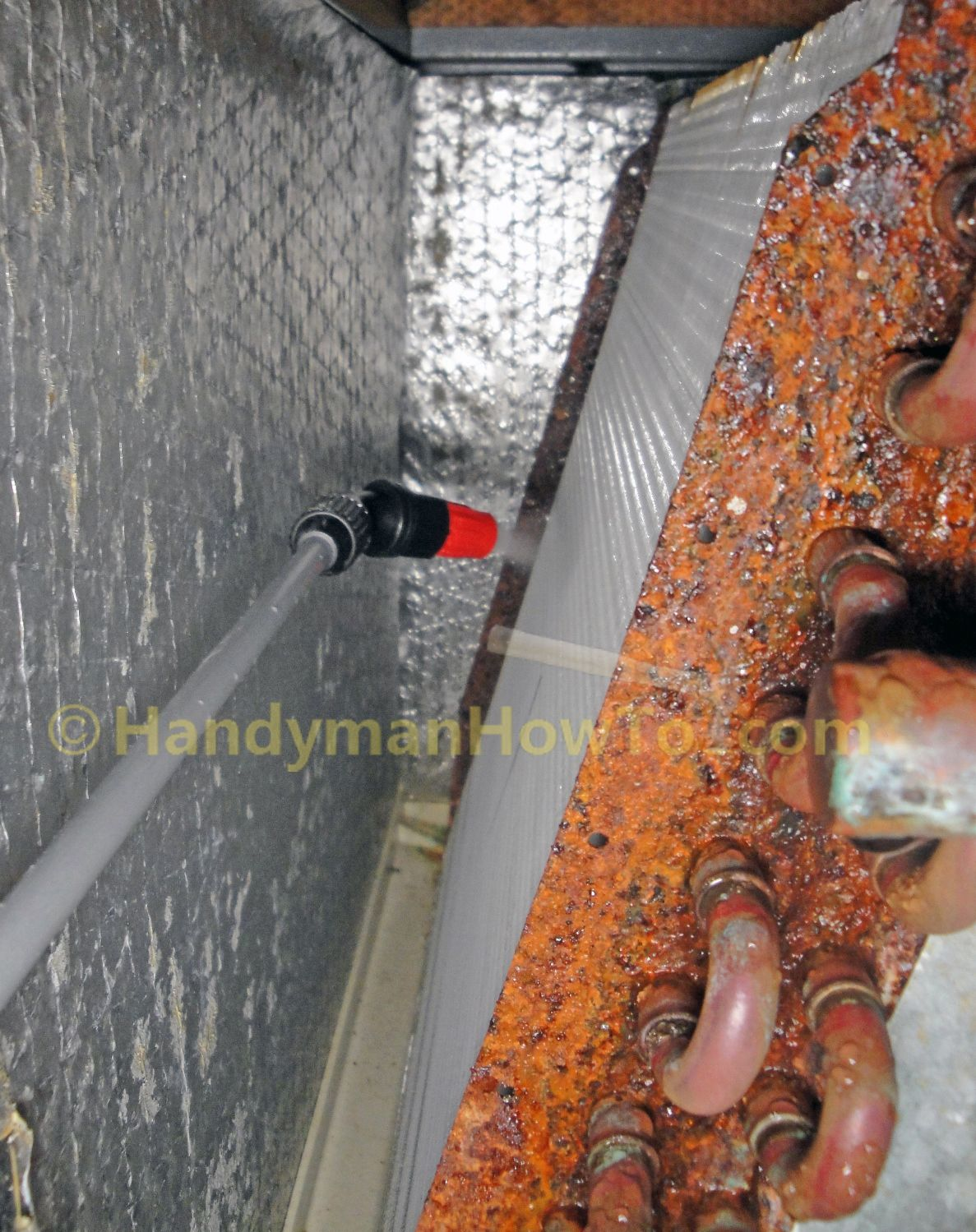 Heavy Duty Ac Evaporator Coil Cleaning With A Pump Sprayer And Commercial Detergent Used By The Pros Photos