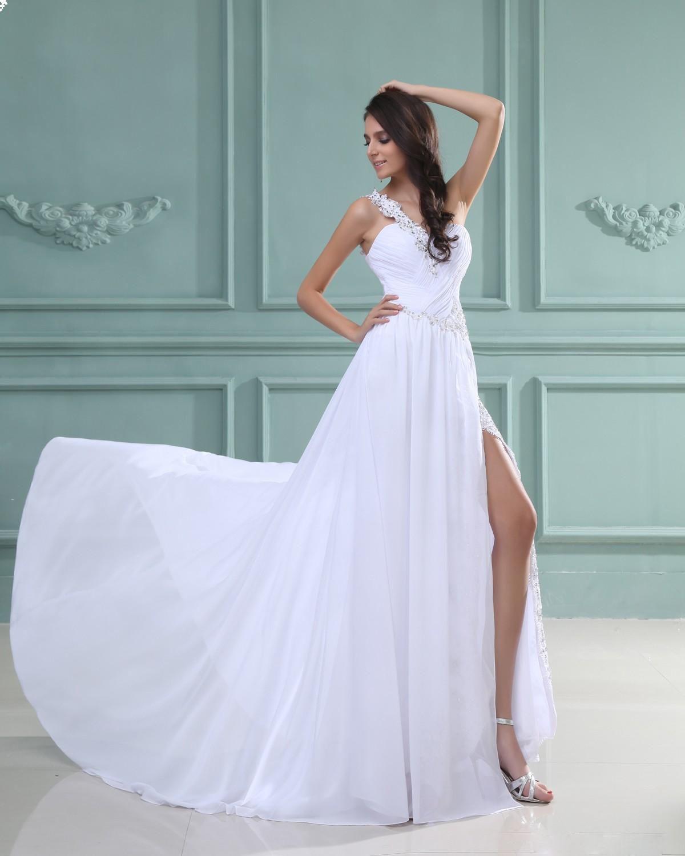 Sloping Chiffon Pleated Floor Length Dress   Wedding   Pinterest ...