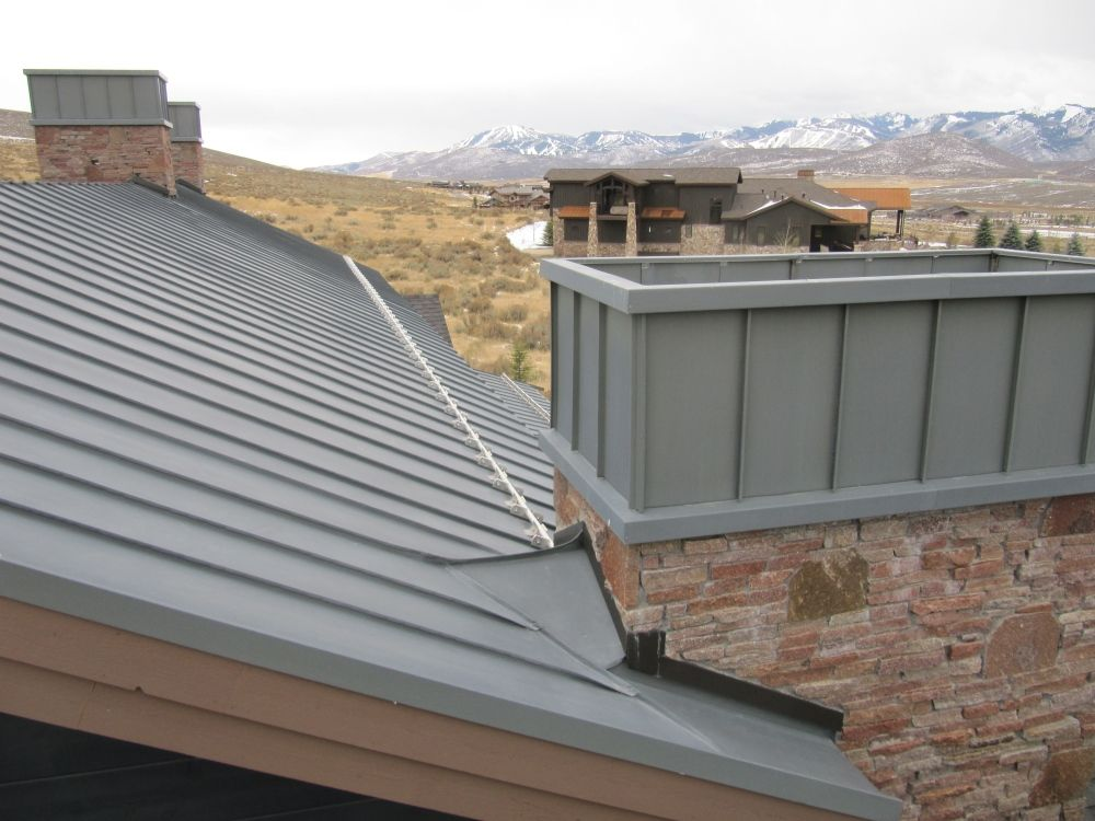 Zinc Standing Seam Roof With Zinc Chimney And Stainless Steel Snow Abatement System Zinc Roof Standing Seam Chimney Cap