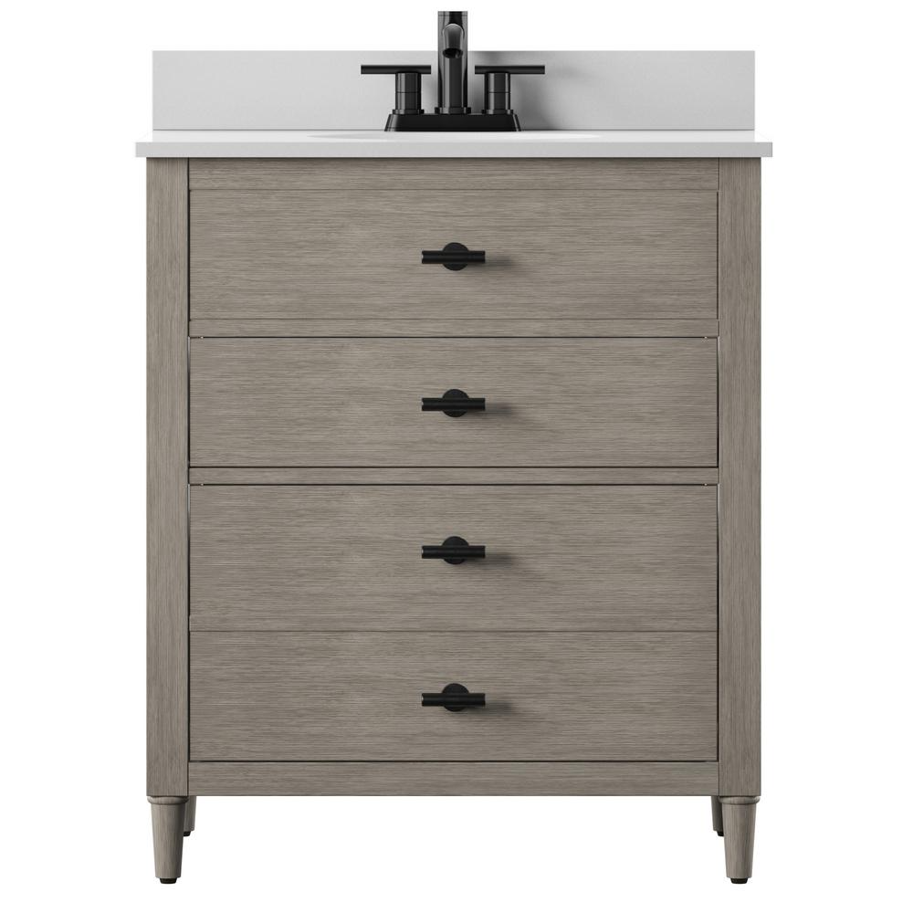 Twin Star Home Dresser Style 30 In Bath Vanity In Barstow Acacia With Stone Vanity Top In White With White Basin 30bv438 Qm654 The Home Depot Single Bathroom Vanity 30 Inch Vanity [ 1000 x 1000 Pixel ]
