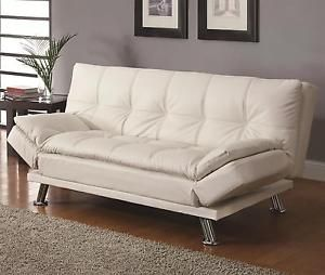 Contemporary White Faux Leather Upholstery Futon Sleeper Sofa Coaster 300291 Contemporary Sofa Bed White Leather Sofas Modern Sofa Bed