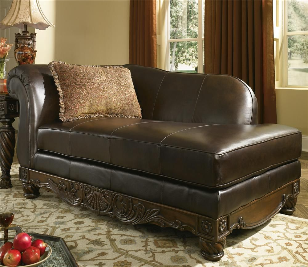 North Shore Dark Brown Upholstered Leather Chaise By Millennium North Shore Leather And