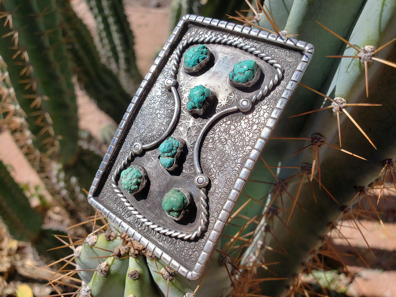 Native american turquoise belt buckle artist hallmark