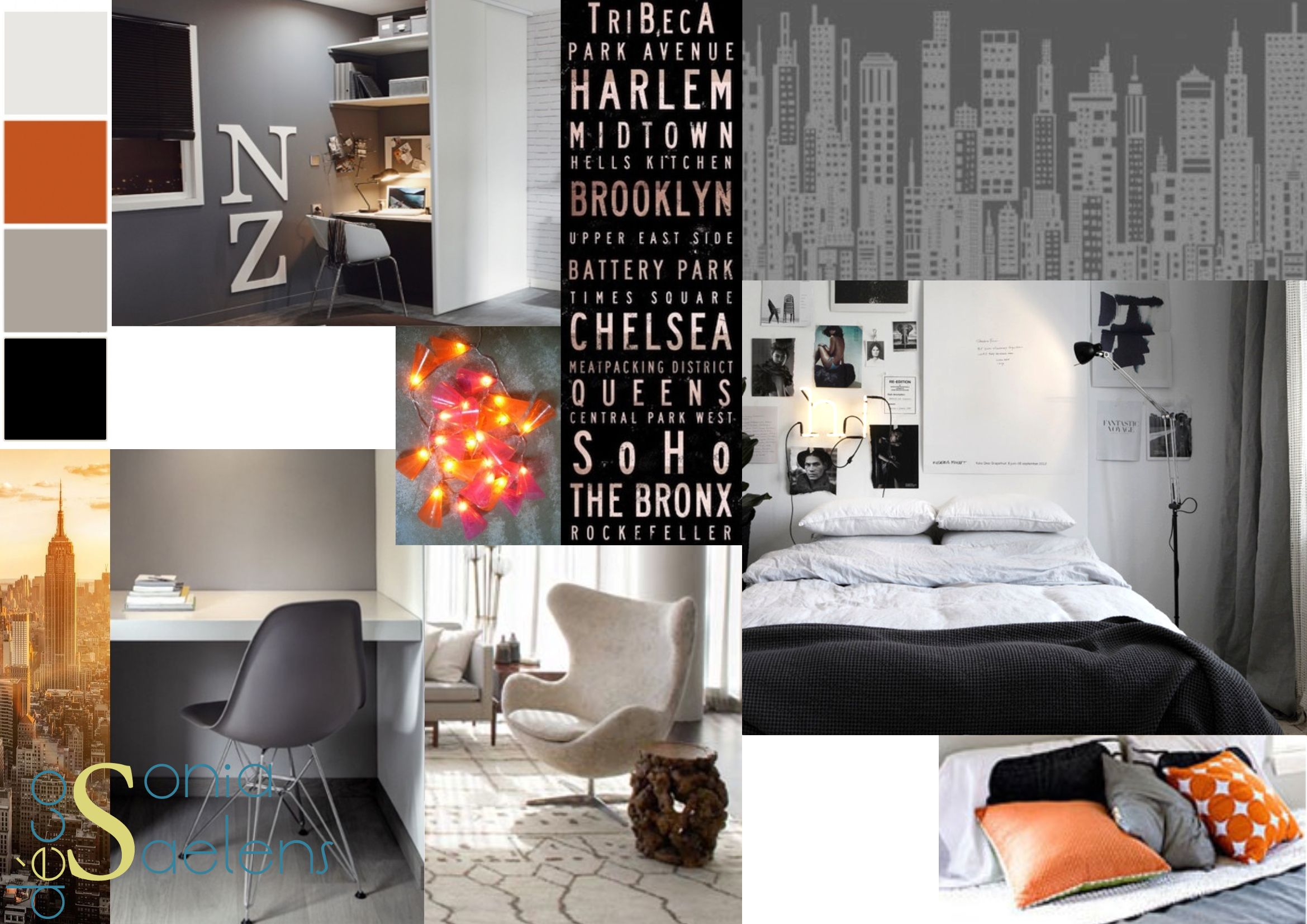 planche tendance pour l 39 am nagement d 39 une chambre d 39 ado dans un style new york tons de noir. Black Bedroom Furniture Sets. Home Design Ideas
