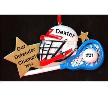 Lacross Kit Hemet Glove  Stick Christmas Ornament  Lacrosse
