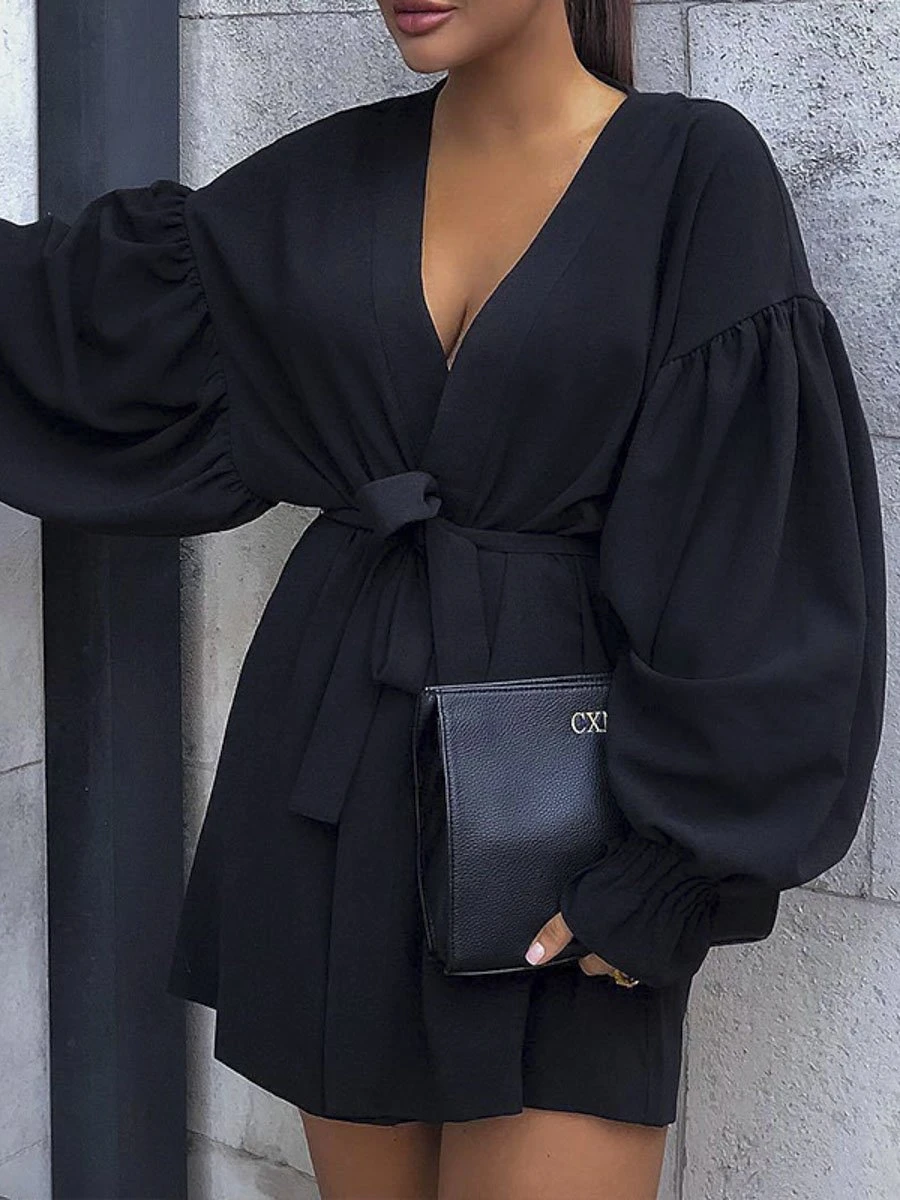 Black v-neck office wear bandage dress Elegant sexy a line lantern sle – ModeGal.com #modegal #black #dresses