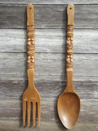 Retro Kitchen Wall Art Big Carved Wooden Forks Spoons 60s 70s