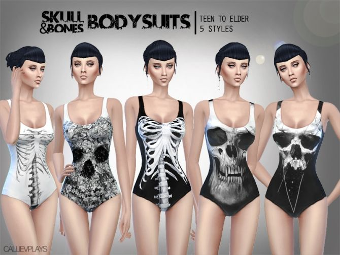 5 skull themed bodysuits at CallieV Plays via Sims 4 Updates