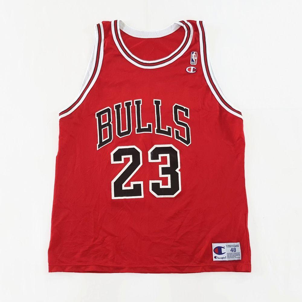 c90d184cbc8d Vintage Champion Chicago Bulls Jordan 23 NBA Basketball Jersey Red Size 48  http