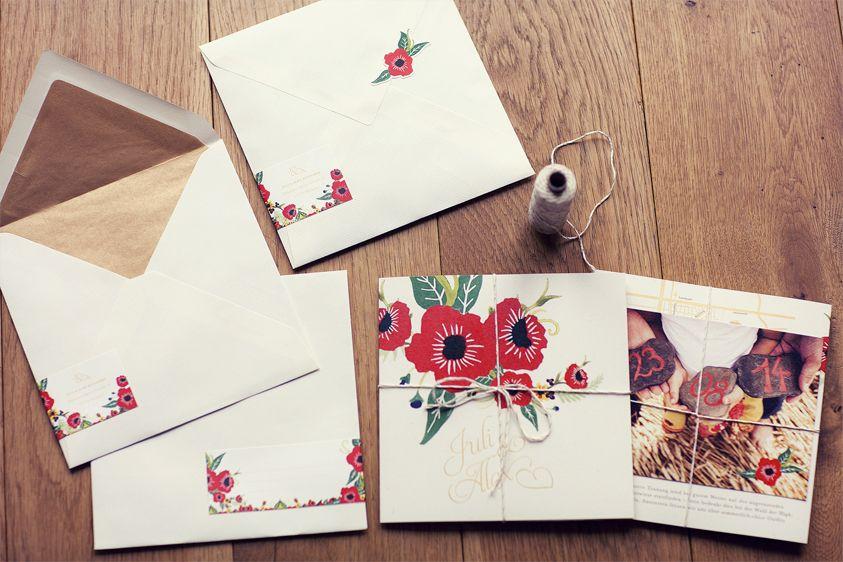 invitation flowers - Framboise.design | ♦ Juli & Alex Hochzeitspapeterie | Sommerhochzeit