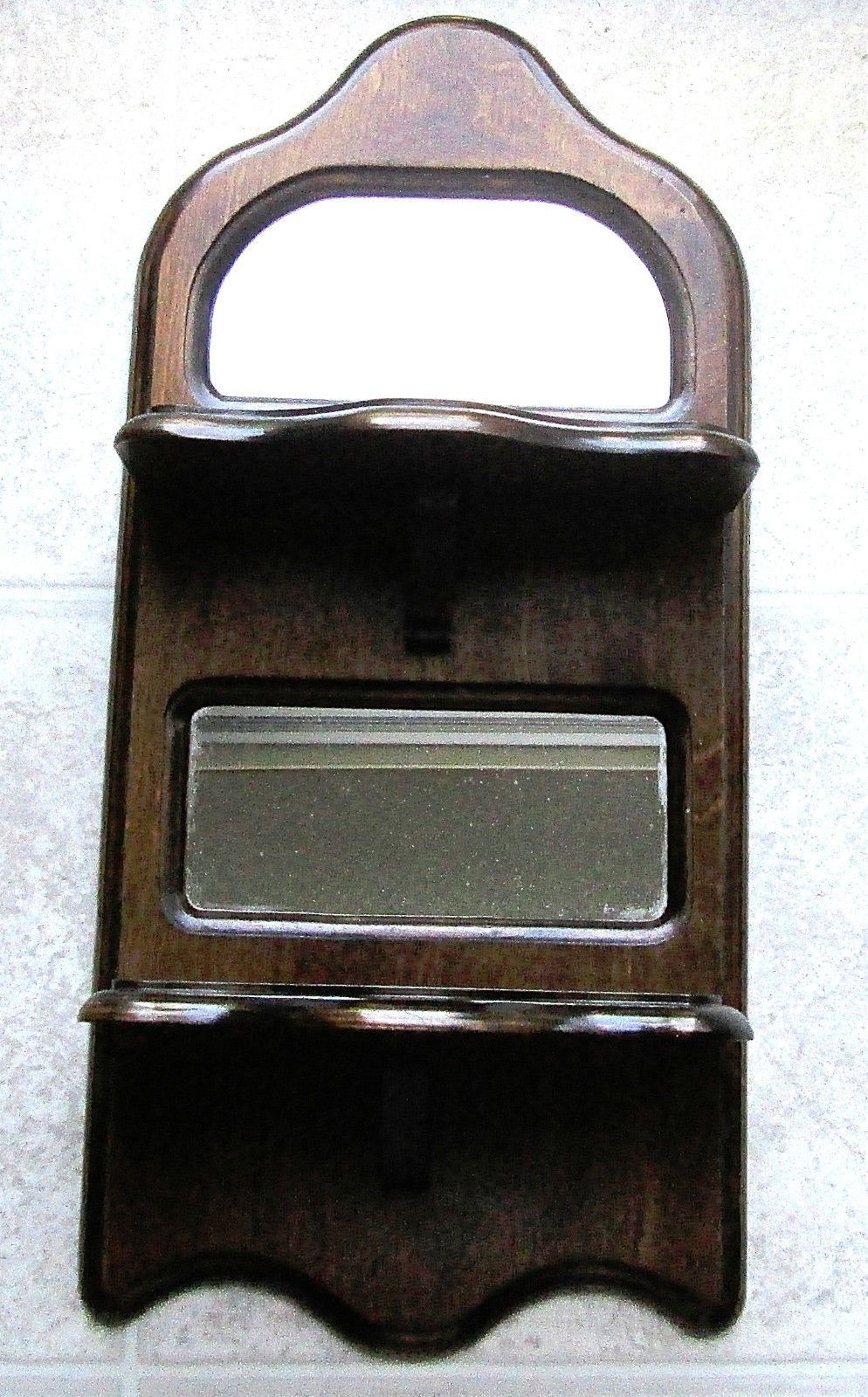 VINTAGE WOOD WALL HANGING SHELF - MIRRORED - 2 SHELVES - MOLENAAN   eBay