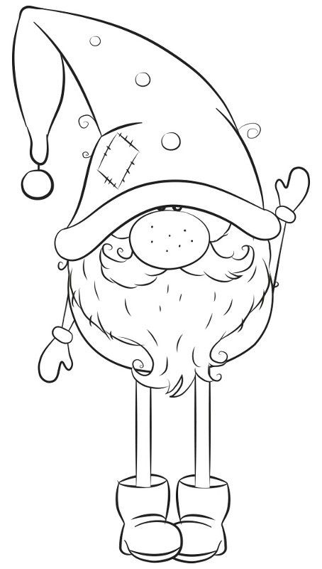 Christmas Gnome Clipart Black And White.Gnome Clip Art Wintertime Clipart Christmas Drawing