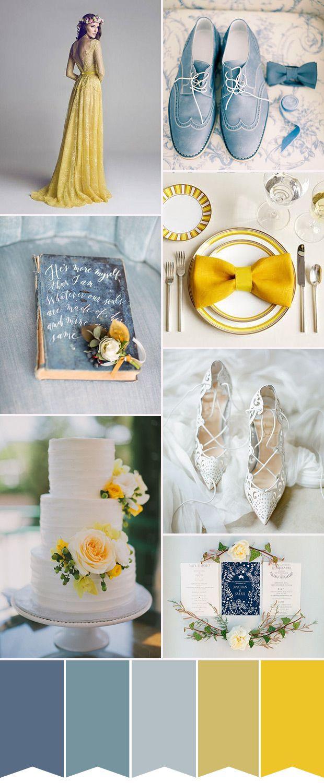 Blue and white wedding decor  Décor de mariage bleu vert et jaune  riageenvogue