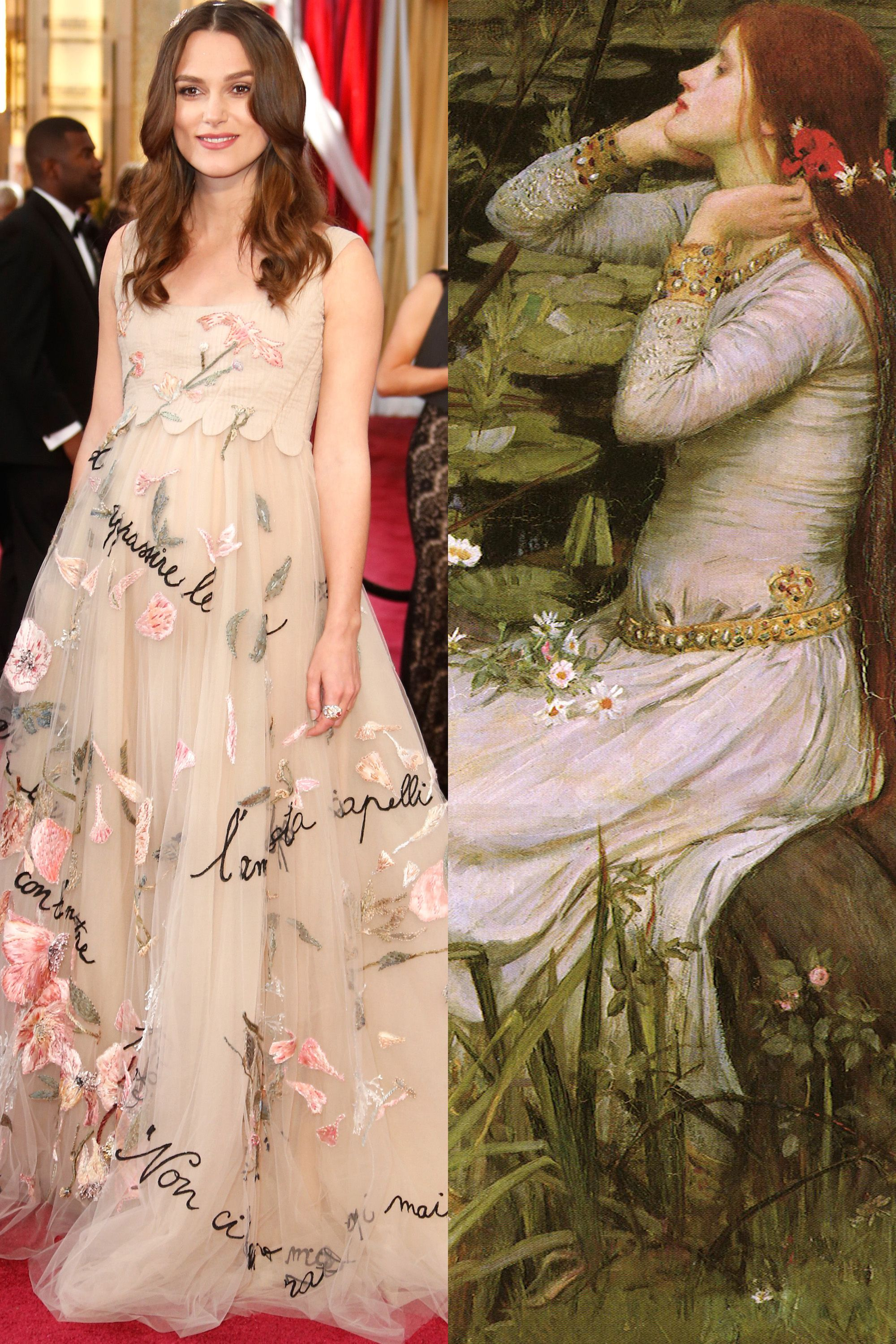 Keira Knightley's romantic Chanel gown was reminiscent of the tragic Shakespearean heroine, Ophelia.   - HarpersBAZAAR.com