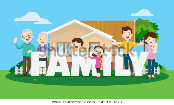 Big Happy Family On Background House Stock Vector Royalty Free 1499300270 In 2020 Family Happy Family Background