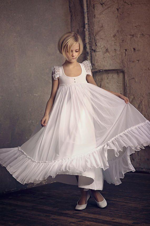Genieße den niedrigsten Preis Offizielle Website suche nach echtem Erste Kommunion, Blumenmädchen weiß Chiffon-Kleid, Boho ...