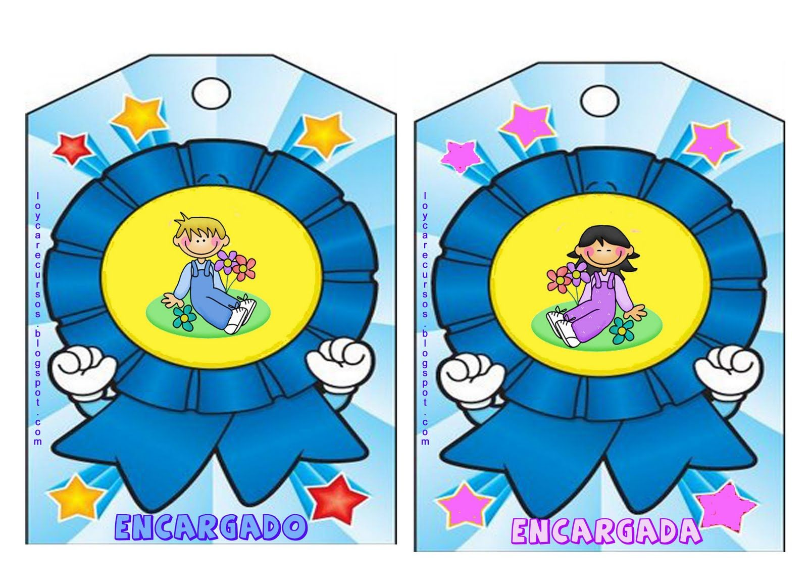 Medallas Encargados Clase Infantil